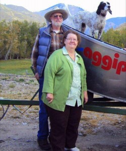 Bill & Peg Bernt with Zip the accomplished Salmon River Dog