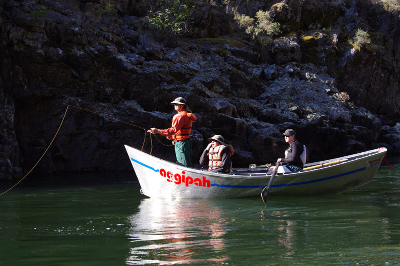 Fly fishing from a Drift Boat on the Salmon River