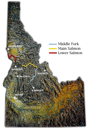 Map of Idaho with the seperate portions of the Salmon River highlighted