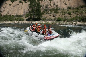 White Water Rafting through rapids on the Salmon River